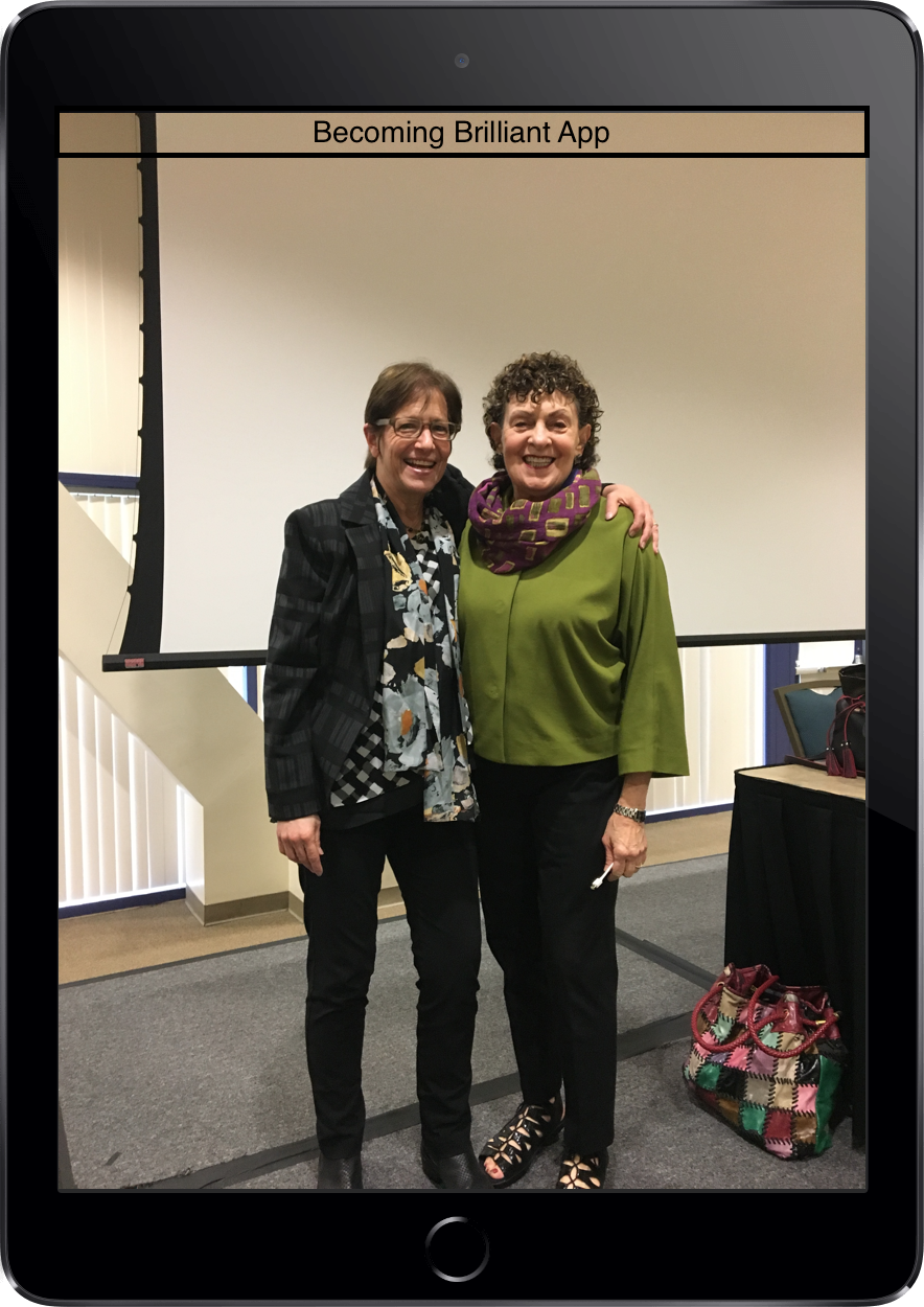 """Roberta Golinkoff (right) with colleague Kathy Hirsch-Pasek (left) gave keynote presentation on """"Putting the education back in """"educational"""" apps."""""""