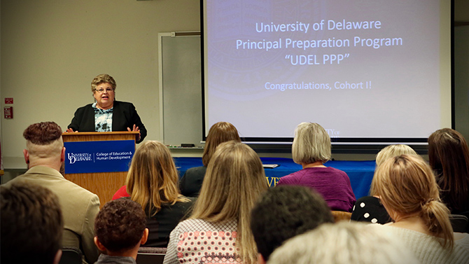 Jackie Wilson, assistant professor in the School of Education and director of UD's Delaware Academy for School Leadership (DASL) celebrates graduates' commitment to their own learning and willingness to lead.