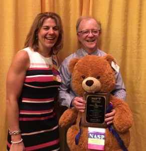 George Bear with the President of NASP, Melissa Reeves. Bear was presented with the Lifetime Achievement Award 2017 from the National Association of School Psychologists (NASP)