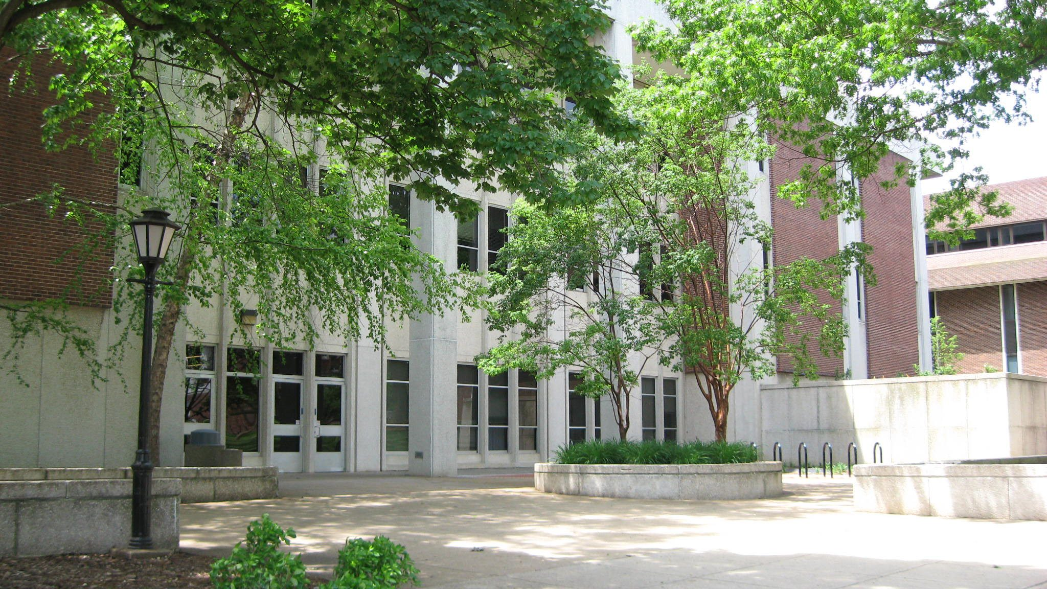 This image shows the main entrance of Willard Hall Education Building in the springtime.