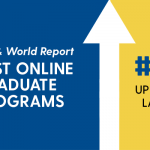 Graphic advertising that the UD online education programs were ranked at number 46, up from number 214 the previous year, by US News and World Report in 2019.