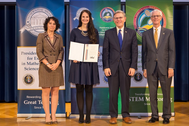 Kathleen Olenderski (second from left) receives Presidential Award for Excellence in Mathematics and Science Teaching at an honorary gala in Washington, D.C.