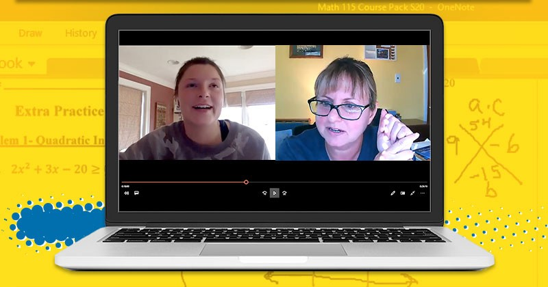 University of Delaware Associate Professor Michelle Cirillo (right) interviews undergraduate Kayla Hurst about her preservice teaching experience that moved from in-person to online during the 2020 spring semester, due to the coronavirus pandemic.