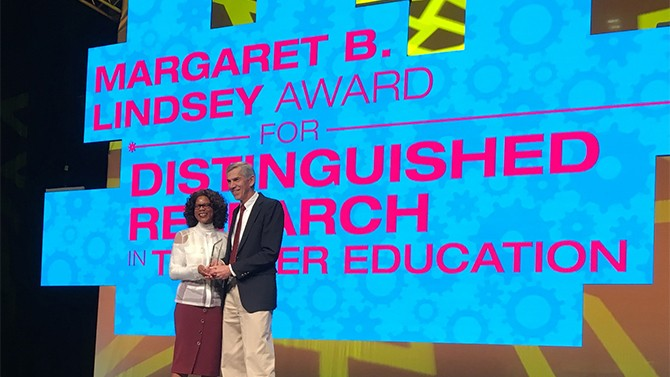 James Hiebert receives the American Association of Colleges for Teacher Education's Margaret B. Lindsey Award for Distinguished Research in Teacher Education.