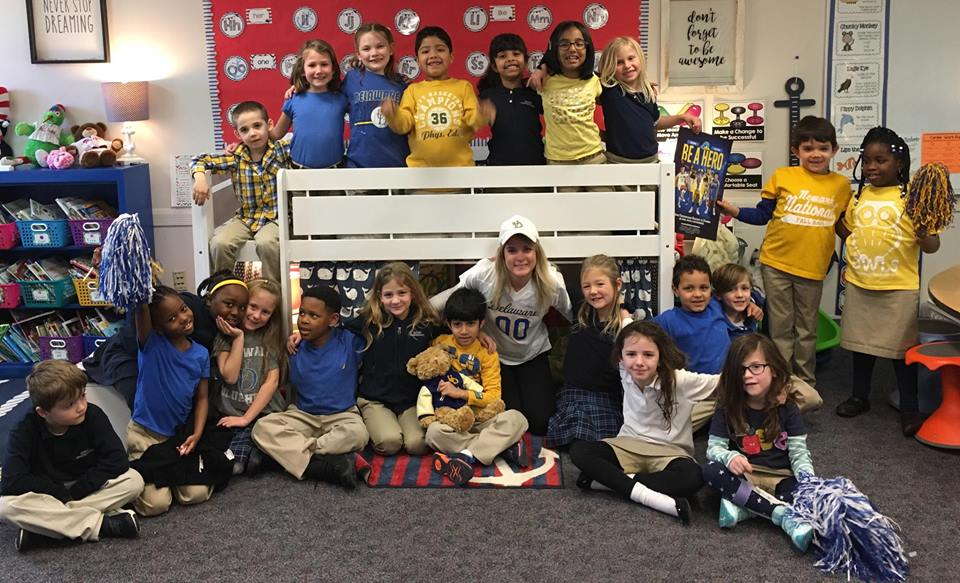 Kelly Krajewski, UD elementary teacher education alumna and nominee for the Delaware Teacher of the Year Award, with her first-grade class at Odyssey Charter School. Krajewski will serve as one of the panelists at the UD's Delaware Teacher of the Year Appreciation Event.