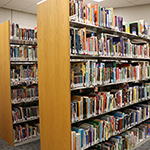 Library shelves filled with books