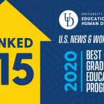 Graphic announcing that the School of Education online education program are ranked 15th in the nation by US News & World Report.