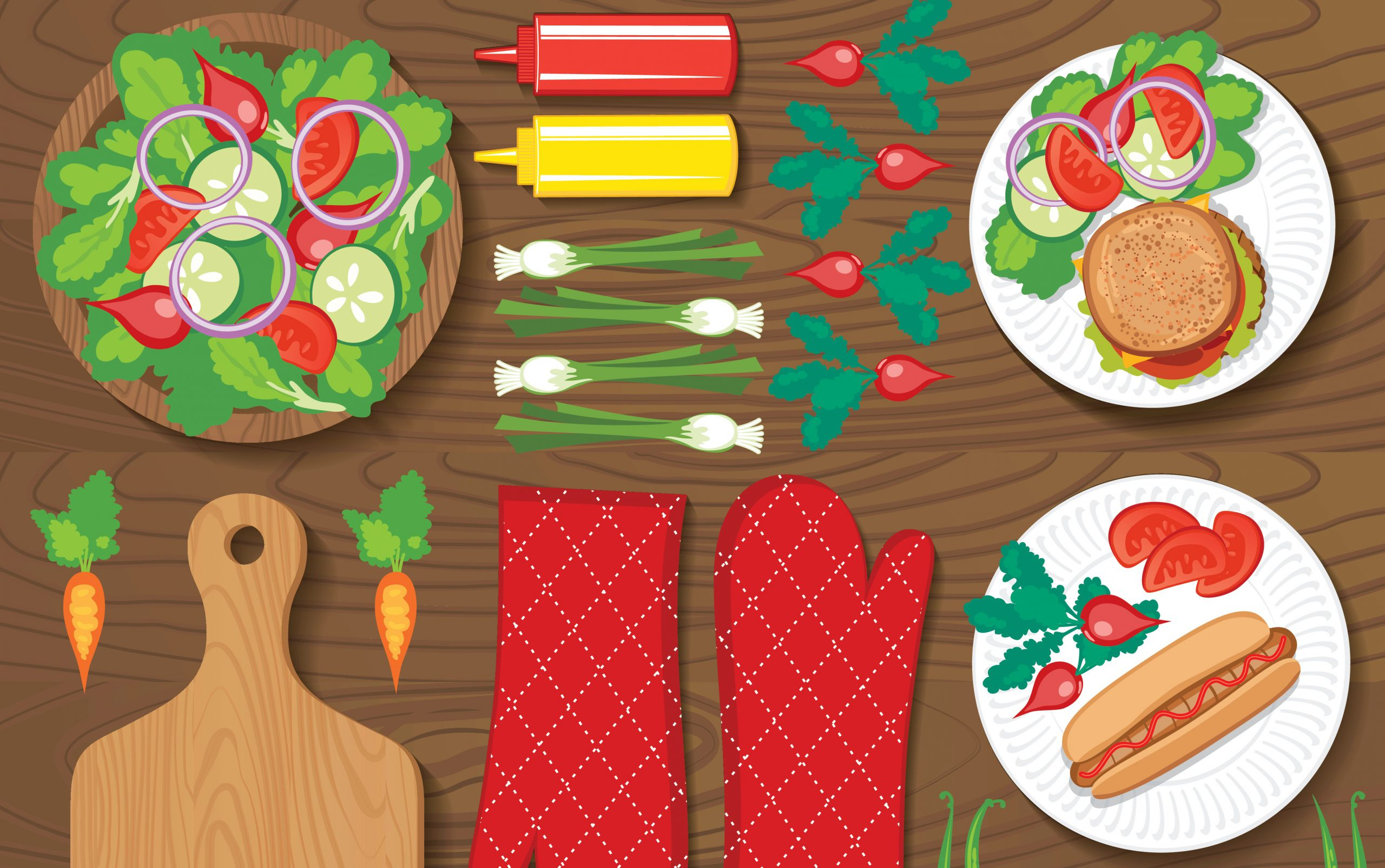 Illustration of salad bowl, hamburger, and hot dog arranged on a picnic table with condiments and oven mitts.